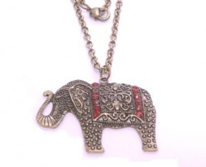 Elephant necklace, fashion design, gold antique colour with red inlays